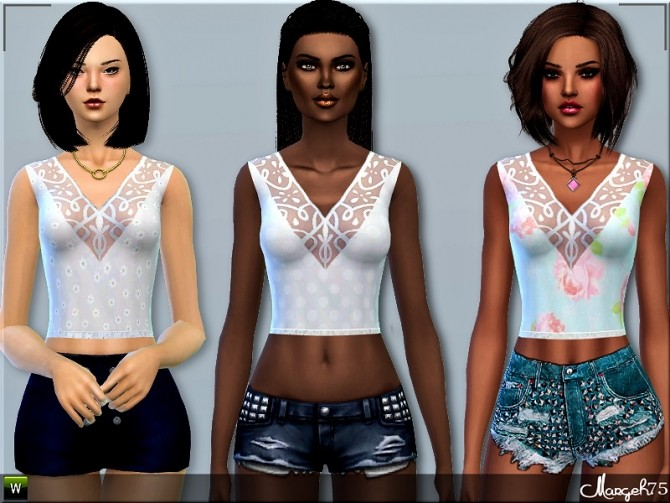 Sims 4 Camisole Lace Tops by Margie at Sims Addictions