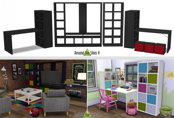 IKEA like Expedit/Kallax Furniture at Around the Sims 4 image 21411 670x456 Sims 4 Updates