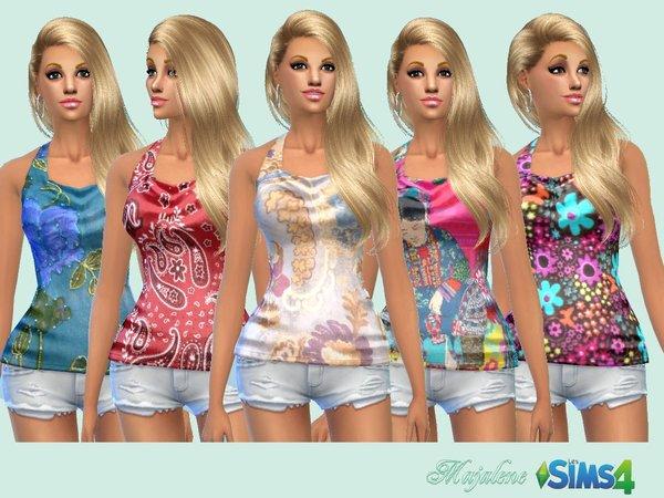 Sims 4 Print sleeveless shirt by majalene at TSR