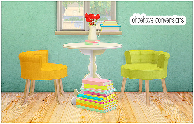 Sims 4 Ohbehave conversions set: dining chair, bookstacks, vase at Lina Cherie