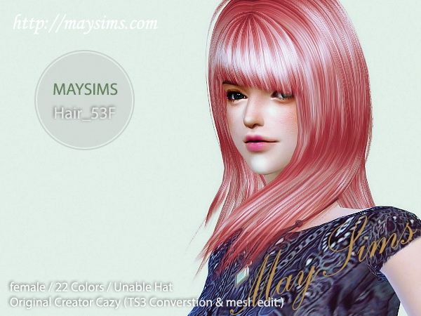 Sims 4 Hair 53F (Cazy) at May Sims