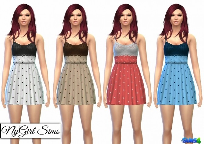 Sims 4 Fitted Lace Top Polka Dot Dress at NyGirl Sims
