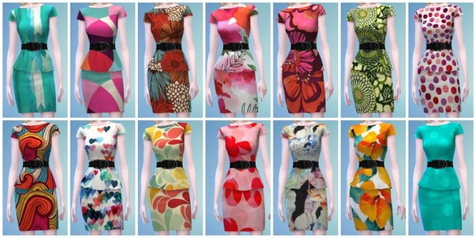 Sims 4 14 Short Peplum Dress Recolors at The Simsperience
