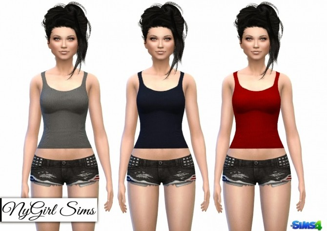 Sims 4 Stars and Stripes Denim Shorts + Racerback Tank at NyGirl Sims