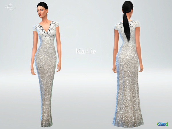Sims 4 Cap Sleeve Sequin Gown KARLIE by starlord at TSR