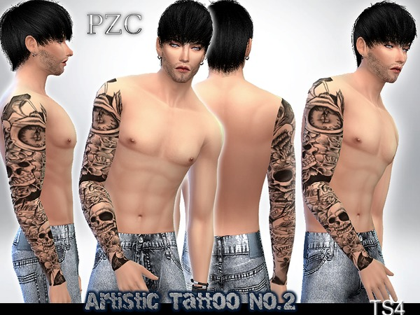 Sims 4 Artistic Sleeve Tattoo No.2 by Pinkzombiecupcakes at TSR