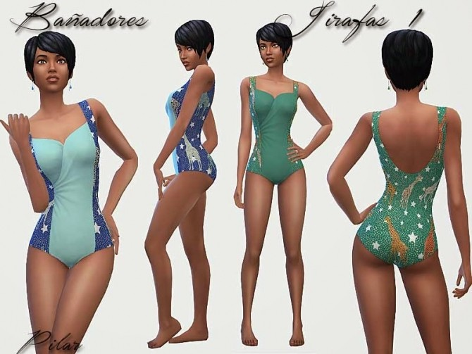 Sims 4 Giraffes swimsuits by Pilar at SimControl