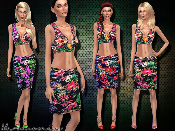 Sims 4 Two piece Bodycon Tropical Set by Harmonia at TSR