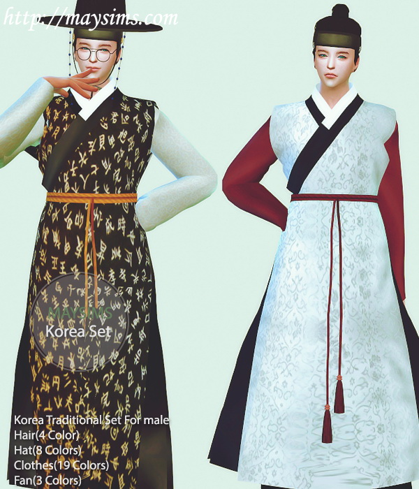 Sims 4 Korean Traditional set for males: hair, hat, outfit, fan at May Sims