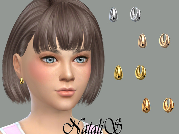Sims 4 Child metal beads earrings CF by NataliS at TSR