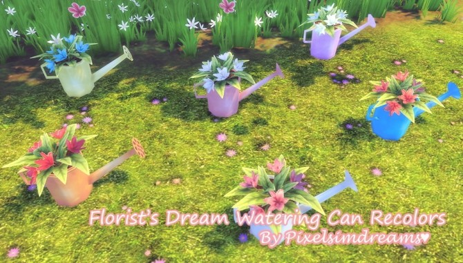 Sims 4 Florist's Dream Watering Can Recolors at Pixelsimdreams