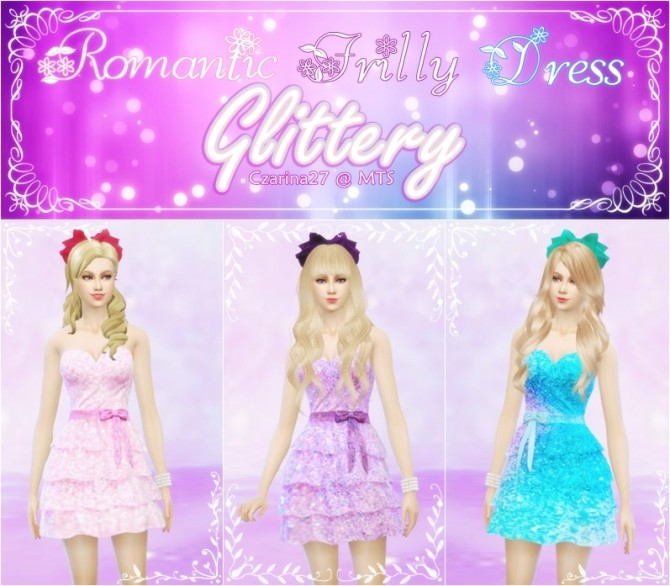 Romantic Frilly Dress Glittery by Czarina27 at Mod The Sims image 361 670x586 Sims 4 Updates