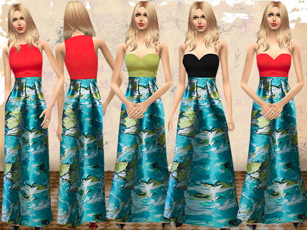 Floral Printed Charmeuse Maxi Dress by melisa inci at TSR image 3618 Sims 4 Updates