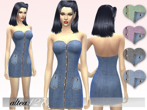 Jeans short dress by altea127 at TSR image 379 Sims 4 Updates