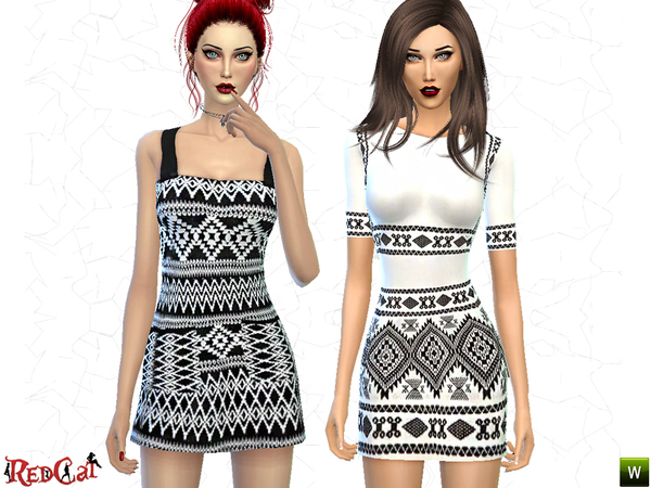 Sims 4 Aztec Pattern Dress Set by RedCat at TSR
