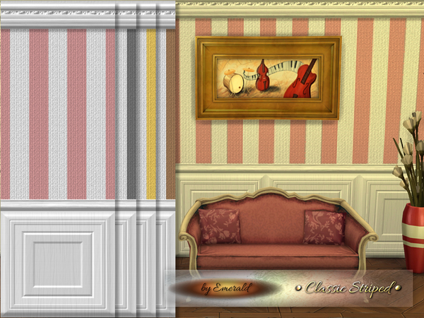 Sims 4 Classic Striped wall by emerald at TSR