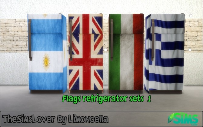 Sims 4 Flags refrigerator sets 1 by Limoncella at The Sims Lover