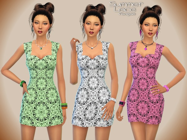 Sims 4 Summer Lace dress by Paogae at TSR