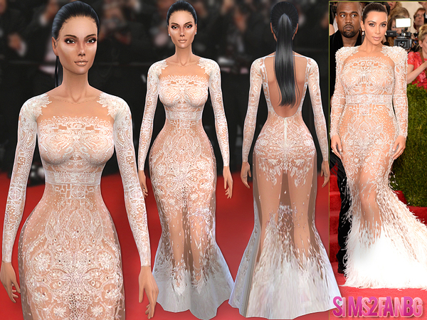 Kim Kardashian Met Gala15 Dress by sims2fanbg at TSR image 4216 Sims 4 Updates