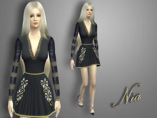 Sims 4 Shiny Striped Dress by Nia at TSR