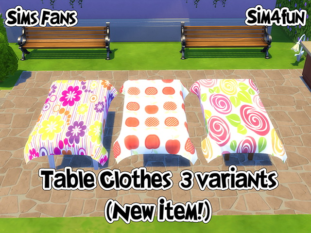 Sims 4 Tablecloths 3 variants by Sim4fun at Sims Fans