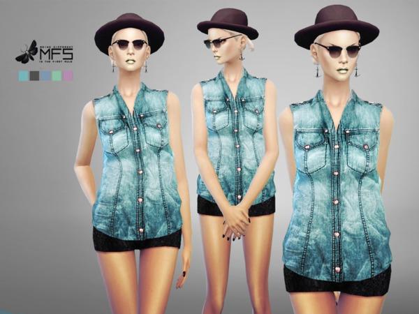Sims 4 MFS Robin Denim Vest by MissFortune at TSR