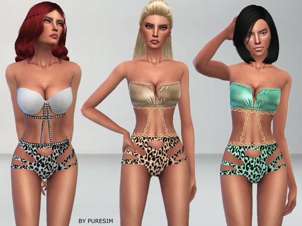Sims 4 Metallic Swimsuit by Puresim at TSR