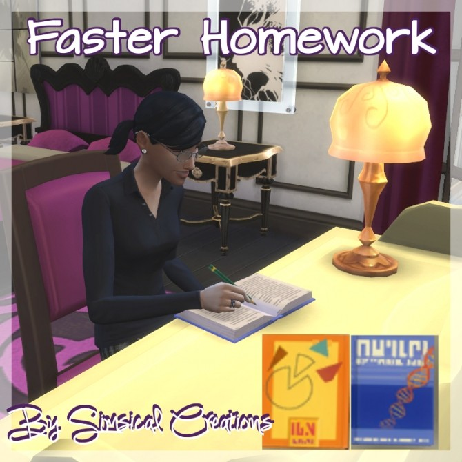 Sims 4 Faster Homework by scarletqueenkat at Mod The Sims