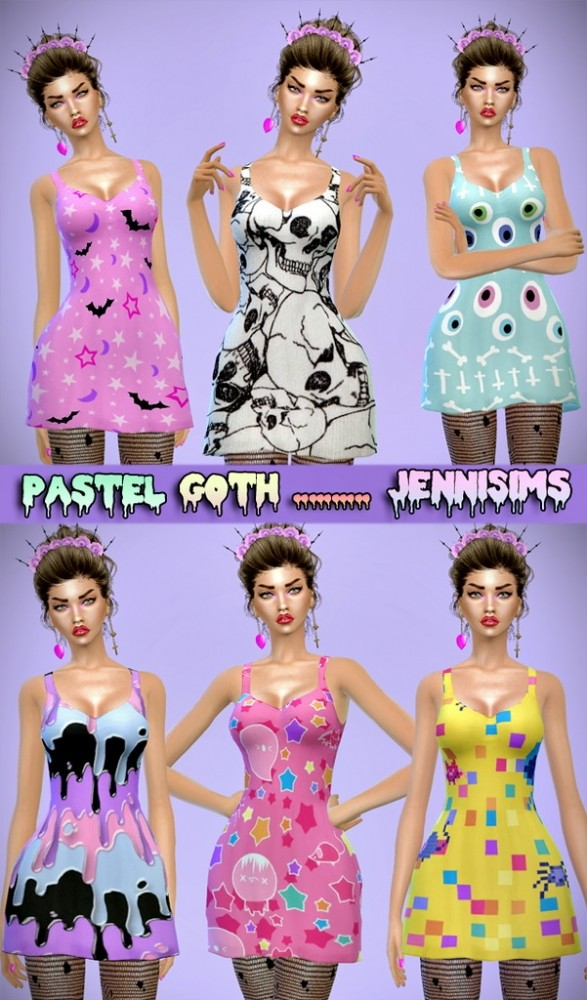 Pastel Goth Dress and Shirt Base Game compatible at Jenni Sims image 5422 587x1000 Sims 4 Updates