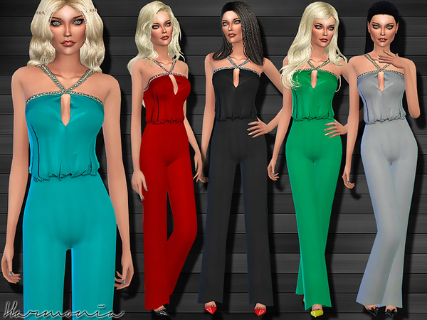 Embellished Angled Strap Jumpsuit by Harmonia at TSR image 590 Sims 4 Updates