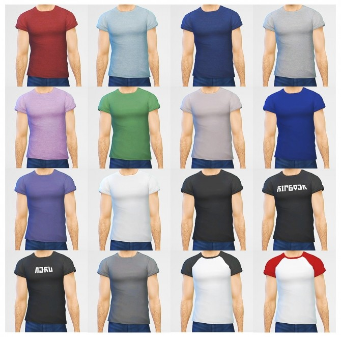 Sims 4 Simple rolled up tees for males at LumiaLover Sims