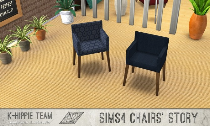 10 chairs recolours Ekai serie in Blue at K hippie image 5925 670x402 Sims 4 Updates
