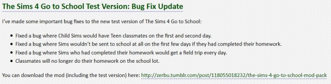 Sims 4 The Sims 4 Go to School Test Version: Bug Fix Update at Zerbu