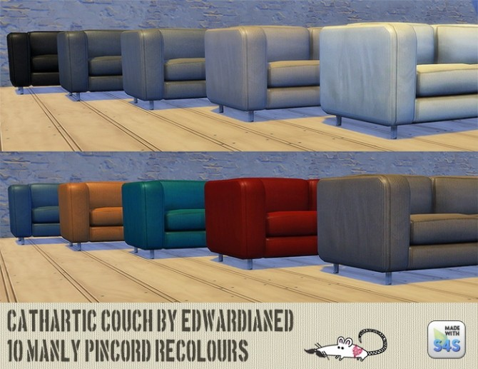 Sims 4 Edwardianeds Cathartic couch recolors at Loverat Sims4