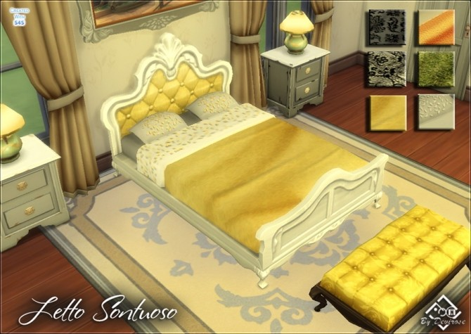 Sims 4 Sontuoso bed recolor at Devirose Sims