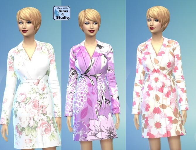Sims 4 Female Floral Dressing Gown Set by wendy35pearly at Mod The Sims