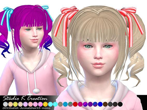 Sims 4 Animate hair 23 Momo at Studio K Creation