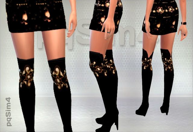 Sims 4 Set of dress and boots at pqSims4