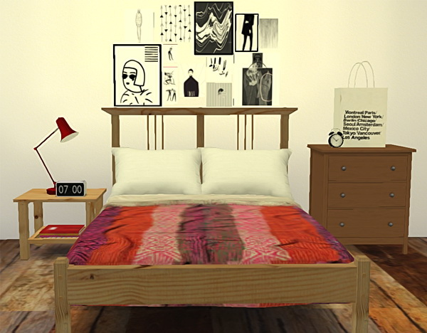 Sims 4 Ohbehave's IKEA inspired bedroom + recolors at Puresims