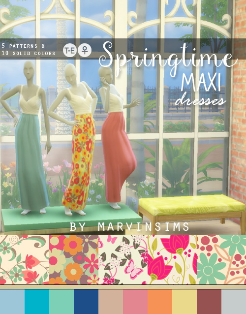Springtime Maxi Dresses at Marvin Sims image 85 Sims 4 Updates