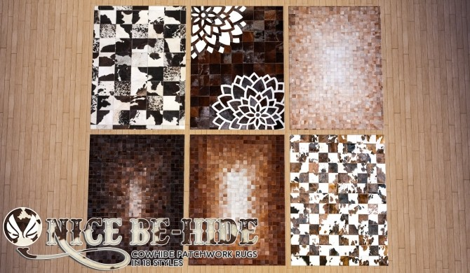 Sims 4 Nice Be Hide Leather Patchwork Rugs at Simsational Designs