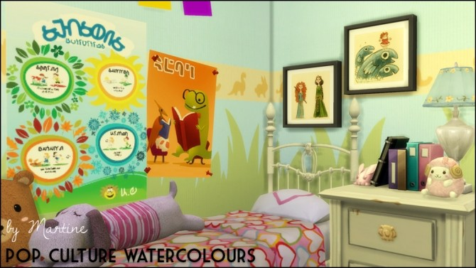 Sims 4 Pop culture watercolours at Martine's Simblr