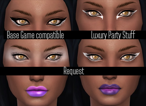 Sims 4 Conversion Base Game Luxury Party Stuff (EyeShadow,EyeLiner,Lipstick) at Jenni Sims