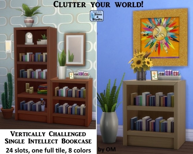 Sims 4 Vertically Challenged Single Intellect Bookcase at Sims 4 Studio