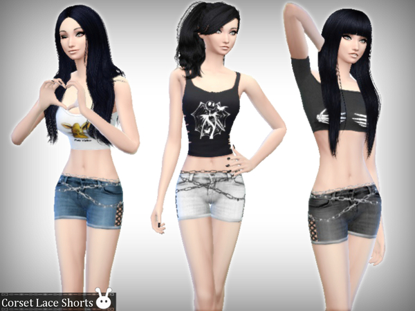 Sims 4 Corset Lace Shorts by XxNikkibooxX at TSR