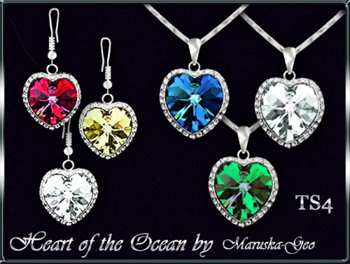 Sims 4 Heart of the Ocean necklace and earrings at Maruska Geo