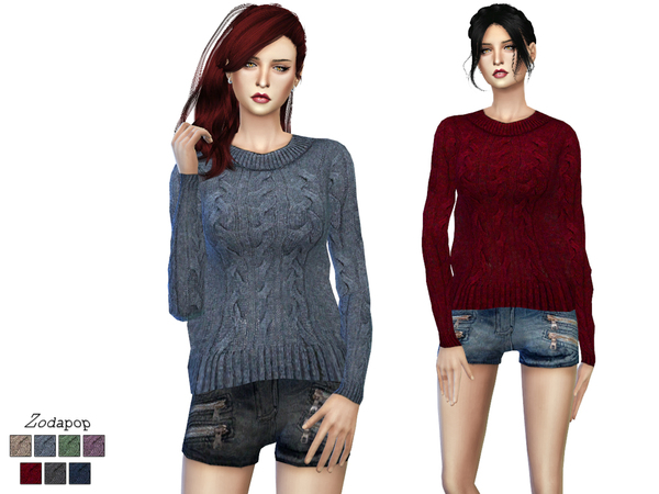 Sims 4 Wool Cable Knit Sweater by zodapop at TSR
