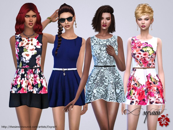 Sims 4 Multicolored floral dress by EsyraM at TSR