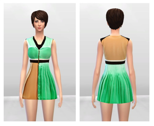 Sims 4 Brown and Green V neck Pleated Dress at McKenzie Layne