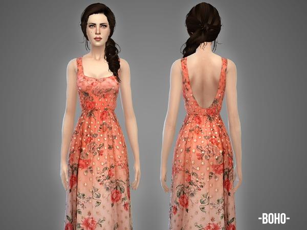 Boho summer gown by April at TSR image 1056 Sims 4 Updates
